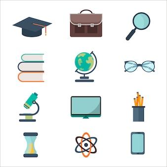 Ensemble d'icônes école et éducation