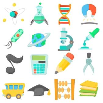 Ensemble d'icônes de l'éducation scientifique