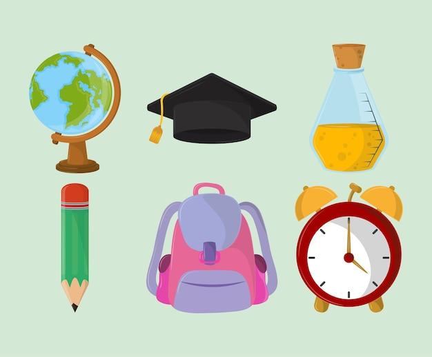 Ensemble d'icônes d'éducation scolaire