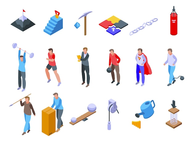 Ensemble d'icônes d'effort. ensemble isométrique d'icônes d'effort pour le web isolé sur fond blanc