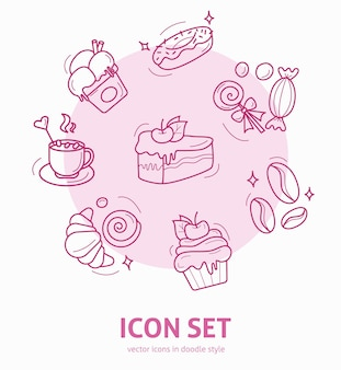 Ensemble d'icônes d'éléments de dessert dans le style doodle conception pour le menu du café ou du restaurant des cartes de voeux