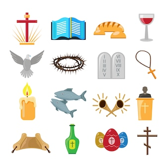 Ensemble d'icônes ou d'éléments du christianisme