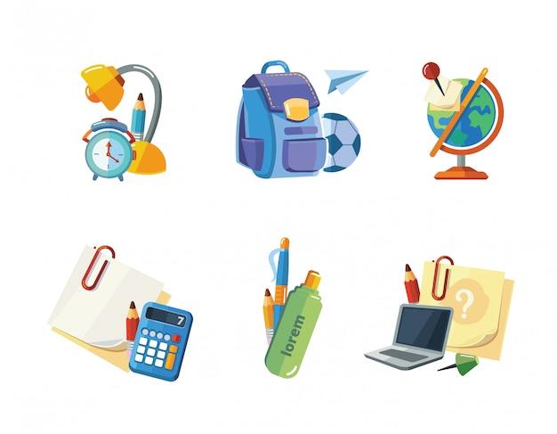 Ensemble d'icônes d'éléments de l'école