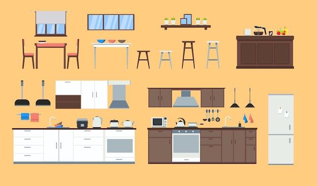 Ensemble d'icônes d'éléments intérieurs de cuisine