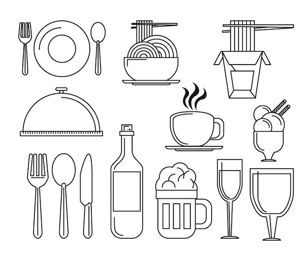 Ensemble d'icônes d'éléments de restaurant