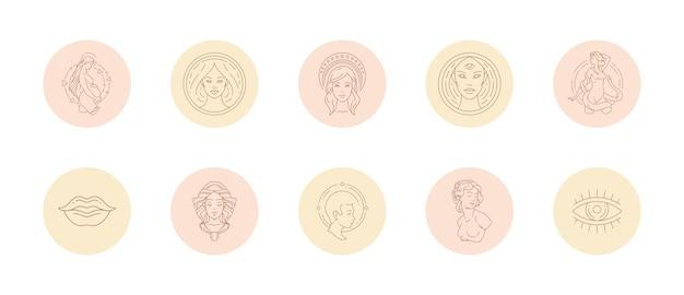 Ensemble d'icônes et d'emblèmes pour les histoires de médias sociaux mettant en évidence les couvertures dans un style linéaire