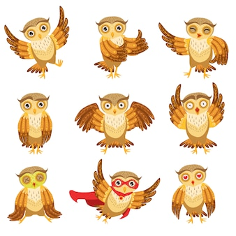 Ensemble d'icônes emoji chouette marron mignon