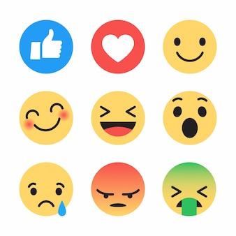 Ensemble d'icônes emoji de médias sociaux différents react