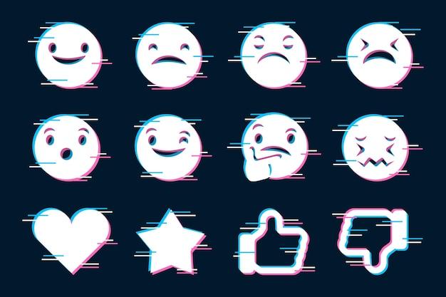 Ensemble d'icônes emojis glitch