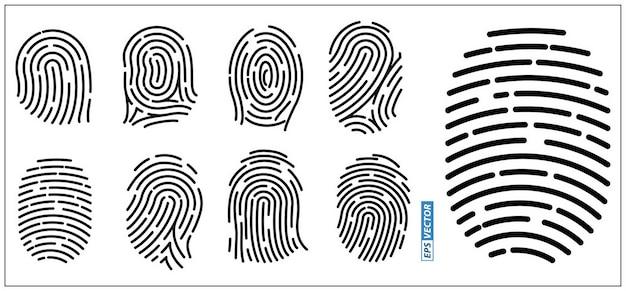 Ensemble d'icônes d'empreintes digitales réalistes isolées ou d'autorisation d'accès aux systèmes de sécurité ou d'empreintes digitales