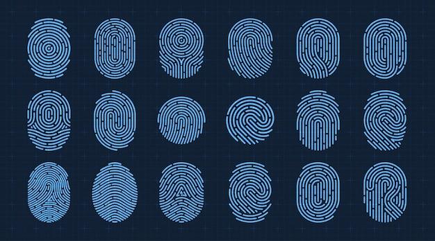 Ensemble d'icônes d'empreintes digitales vectorielles système d'autorisation d'identification future scifi isolé