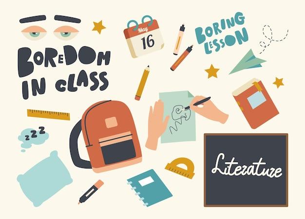 Ensemble d'icônes ennui dans le thème de la classe
