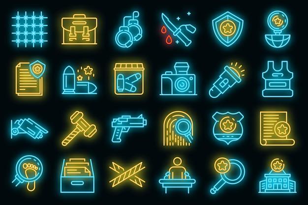 Ensemble d'icônes d'enquêteur. ensemble de contour d'icônes vectorielles enquêteur couleur néon sur fond noir
