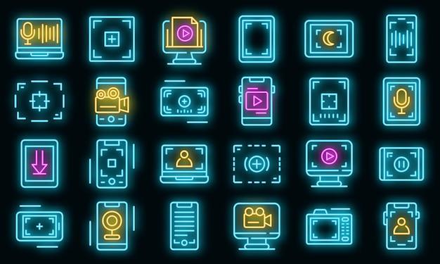 Ensemble d'icônes d'enregistrement d'écran. ensemble de contour d'icônes vectorielles d'enregistrement d'écran couleur néon sur fond noir