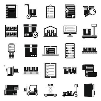 Ensemble d'icônes d'entrepôt d'inventaire, style simple