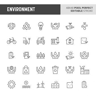 Ensemble d'icônes d'environnement