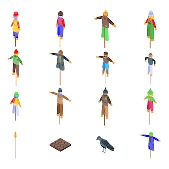 Ensemble d'icônes épouvantail, style isométrique