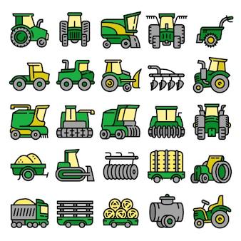 Ensemble d'icônes d'équipement agricole, style de contour