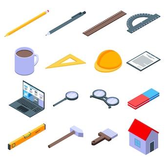 Ensemble d'icônes d'équipement d'architecte