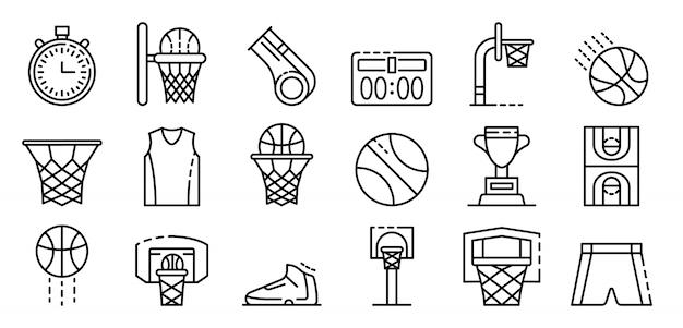 Ensemble d'icônes d'équipement de basket-ball, style de contour