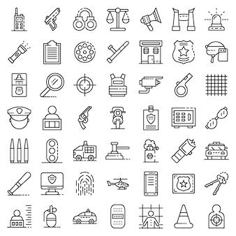 Ensemble d'icônes d'équipement de police. ensemble de contour des icônes vectorielles de matériel de police
