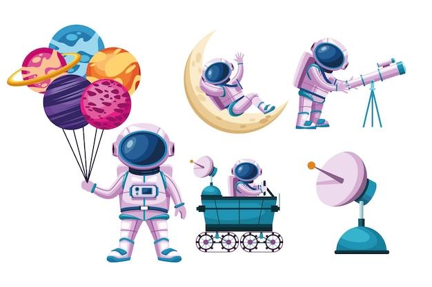 Ensemble d'icônes de l'espace astronautes