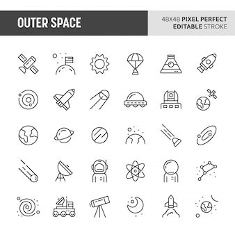 Ensemble d'icônes de l'espace extra-atmosphérique