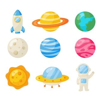 Ensemble d'icônes de l'espace. style de bande dessinée de planètes. isolé