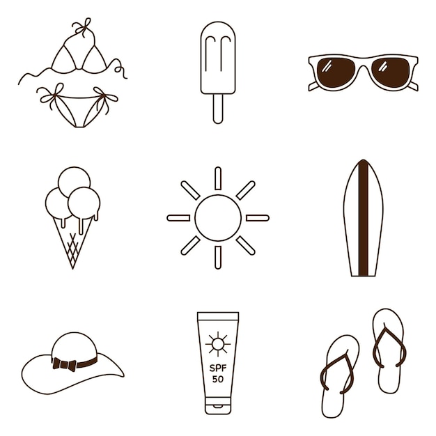 Ensemble d'icônes d'été de plage. collection de symboles de vacances en mer. icônes de contour pour les loisirs de plage de vacances. vecteur premium