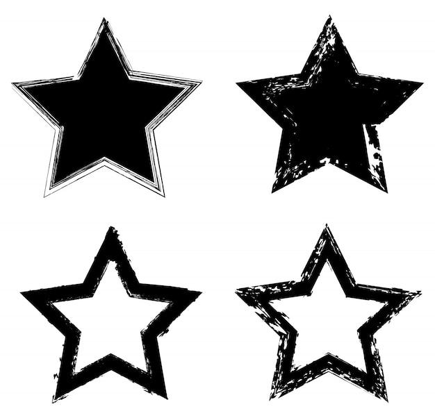 Ensemble d'icônes étoiles grunge