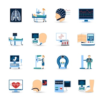 Ensemble d'icônes d'examen médical