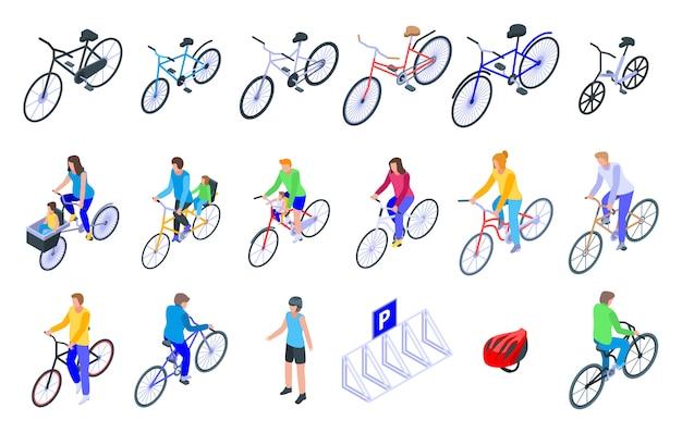 Ensemble d'icônes de famille de vélo, style isométrique
