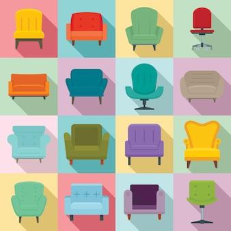 Ensemble d'icônes de fauteuil, style plat