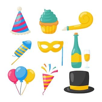 Ensemble d'icônes de fête joyeux anniversaire