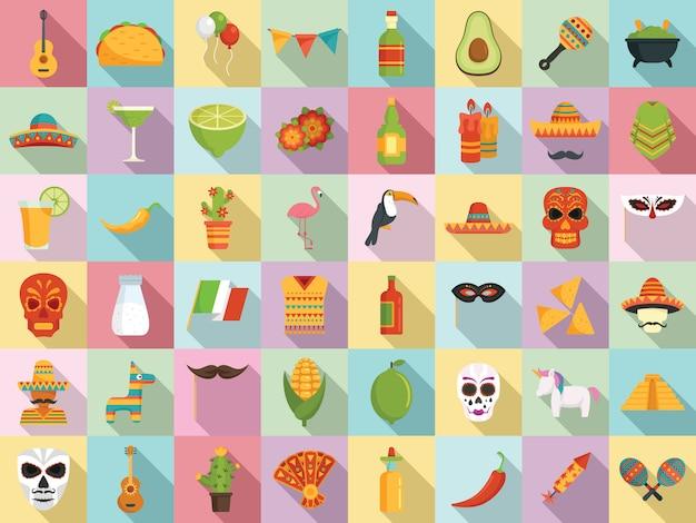 Ensemble d'icônes fiesta, style plat