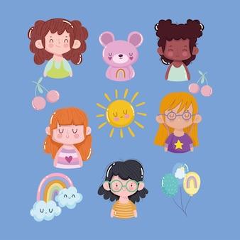 Ensemble d'icônes filles et ours