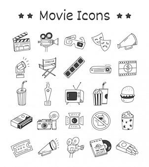 Ensemble d'icônes de film dans un style doodle