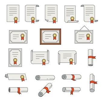 Ensemble d'icônes de fine ligne de certificat