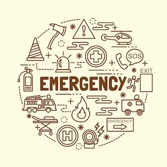 Ensemble d'icônes de fine ligne minime d'urgence
