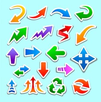 Ensemble d'icônes de flèche de dessin animé. pointeurs directionnels vectoriels