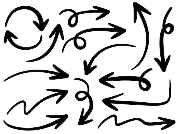 Ensemble d'icônes de flèches dessinées à la main isolé sur blanc.