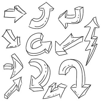 Ensemble d'icônes de flèches dessinées à la main isolé sur blanc
