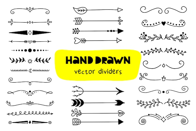 Ensemble d'icônes de flèches et diviseurs