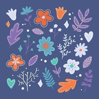 Ensemble d'icônes de fleur de printemps plat en silhouette
