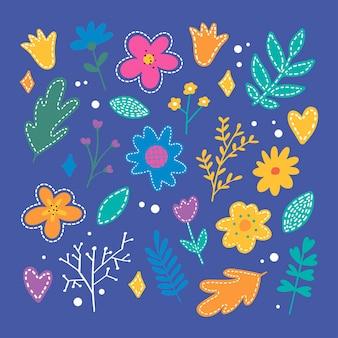 Ensemble d'icônes de fleur de printemps plat
