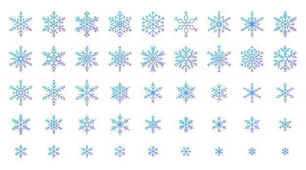 Ensemble d'icônes de flocon de neige, neige d'hiver en cristal de glace froide, étoile à six branches de la ligne gdradient.