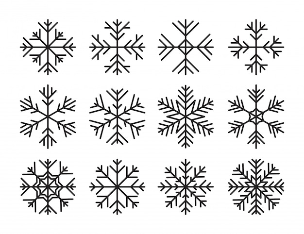 Ensemble des icônes de flocons de neige de vecteur