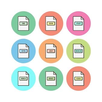 Ensemble d'icônes de formats de fichiers sur fond blanc vector éléments isolés