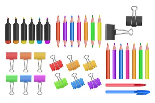Ensemble d'icônes de fournitures scolaires et de bureau outils de bureau