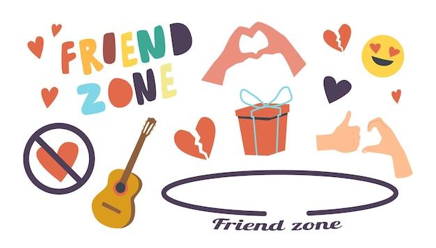 Ensemble d'icônes friend zone thème. cercle, coeur croisé et brisé, gestes de guitare et de main, boîte-cadeau emballée, smile emoji fall in love